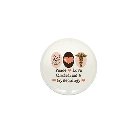 Peace Love OB/GYN Doctor Mini Button (100 pack)
