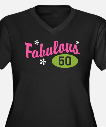 Fabulous 50 Women's Plus Size V-Neck Dark T-Shirt