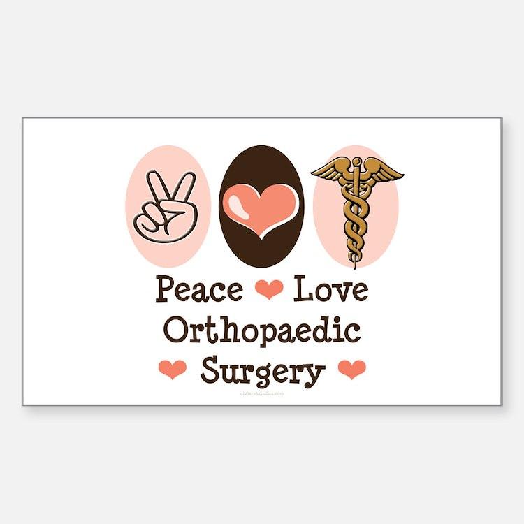 Peace Love Orthopaedic Surgery Sticker 10 Pk