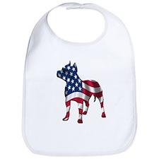 Patriotic Pit Bull Design Bib