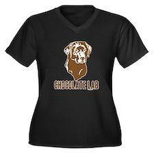 Chocolate Lab Women's Plus Size V-Neck Dark T-Shir