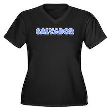 Retro Salvador (Blue) Women's Plus Size V-Neck Dar