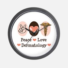 Peace Love Dermatology Wall Clock