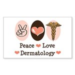 Peace Love Dermatology Rectangle Sticker