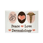 Peace Love Dermatology Rectangle Magnet (100 pack)