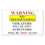 Warning - Daughter Rectangle Sticker 10 pk)