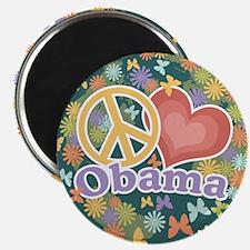 Peace Love Obama [globe] Magnet