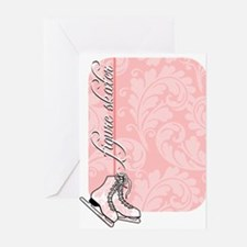 pink-damask-skates-curved Greeting Cards
