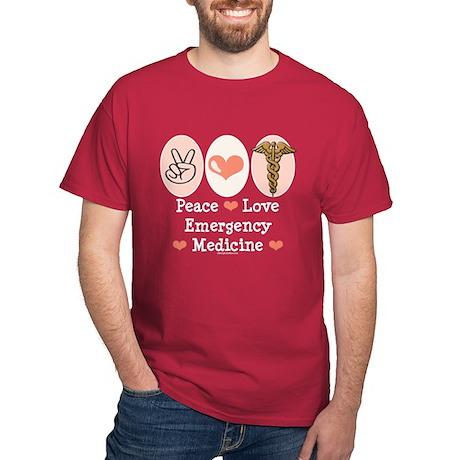 Peace Love ER Doctor Dark T-Shirt