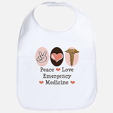 Peace Love ER Doctor Bib
