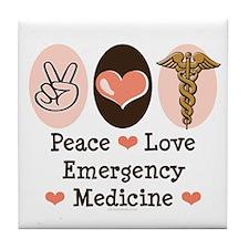 Peace Love ER Doctor Tile Coaster