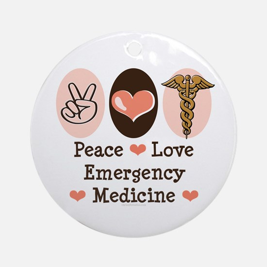 Peace Love ER Doctor Ornament (Round)