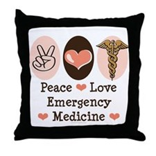 Peace Love ER Doctor Throw Pillow