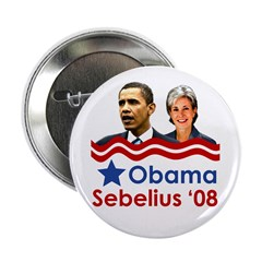 Obama/Sebelius campaign button for 2008