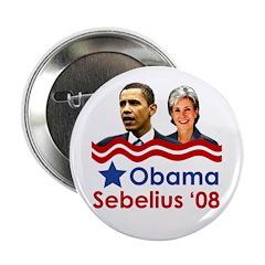 Obama/Sebelius campaign button for 2008