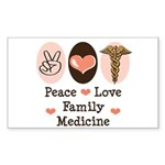 Peace Love Family Medicine Rectangle Sticker 10 p