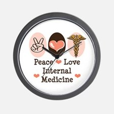 Peace Love Internal Medicine Wall Clock