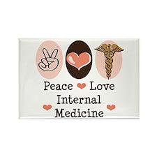 Peace Love Internal Medicine Rectangle Magnet