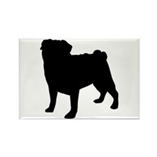 Pug Silhouette Rectangle Magnet (10 pack)