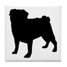 Pug Silhouette Tile Coaster