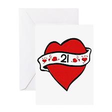 21st Heart Tattoo Greeting Card