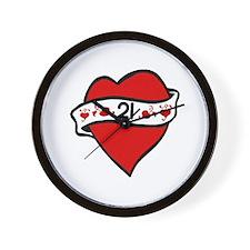 21st Heart Tattoo Wall Clock