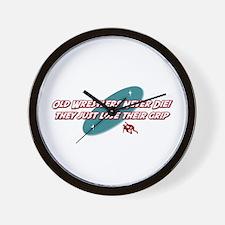 Old Wrestlers Never Die Wall Clock