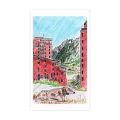 Swiss Cow Travel Rectangle Sticker 10 pk)