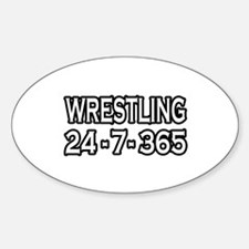 """""""Wrestling 24-7-365"""" Oval Decal"""