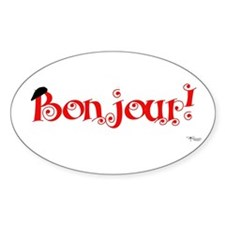 Bonjour! Oval Decal