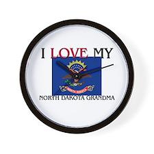 I Love My North Dakota Grandma Wall Clock