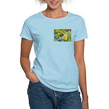 Bee & Yellow Dandelions Women's Pink T-Shirt