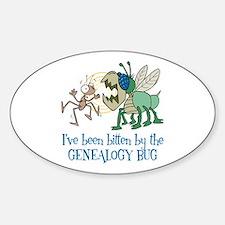 Bitten by Genealogy Bug Oval Decal