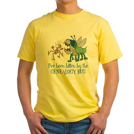 Bitten by Genealogy Bug Yellow T-Shirt