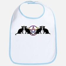 Black cat magic witch Bib