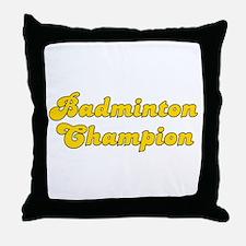 Retro Badminton C.. (Gold) Throw Pillow