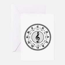 Grayscale Circle of Fifths Greeting Cards (Package