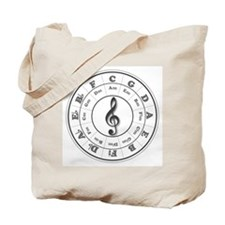 Grayscale Circle of Fifths Tote Bag