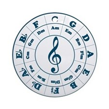 Dk. Blue Circle of Fifths Ornament (Round)