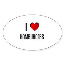 I LOVE HAMBURGERS Oval Decal