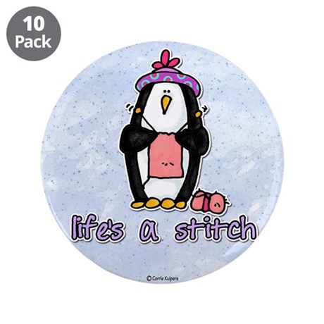 """life's a stitch 3.5"""" Button (10 pack)"""