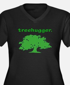 Tree hugger Women's Plus Size V-Neck Dark T-Shirt