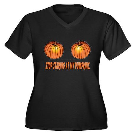 Staring at my pumpkins Women's Plus Size V-Neck Da
