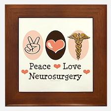 Peace Love Neurosurgery Framed Tile