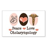 Peace Love Otolaryngology ENT Rectangle Sticker