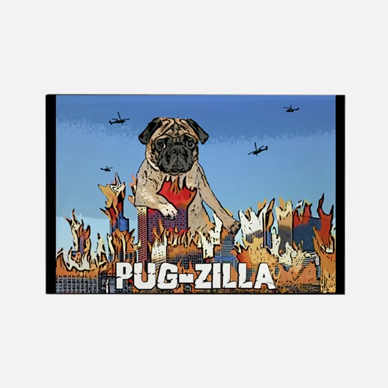 Pug-zilla Rectangle Magnet