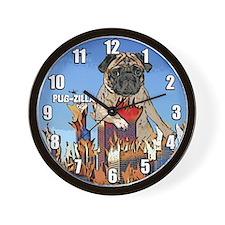 Pug-zilla Pug Clock
