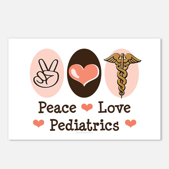 Peace Love Pediatrics Postcards (Package of 8)