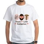 Peace Love Pediatrics White T-Shirt