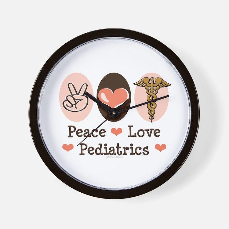 Peace Love Pediatrics Wall Clock